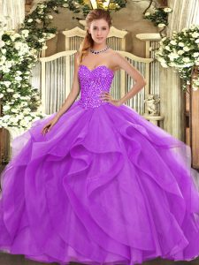 Sweetheart Sleeveless Tulle Sweet 16 Dresses Beading and Ruffles Lace Up