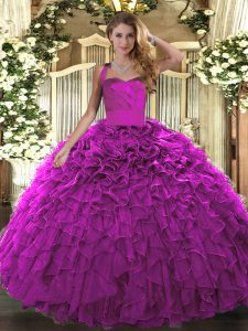 Modest Floor Length Fuchsia Quinceanera Dress Halter Top Sleeveless Lace Up