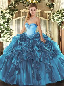 Gorgeous Beading and Ruffles Quinceanera Gown Teal Lace Up Sleeveless Floor Length