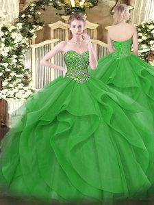 Fitting Green Tulle Lace Up Quinceanera Gowns Sleeveless Floor Length Beading and Ruffles