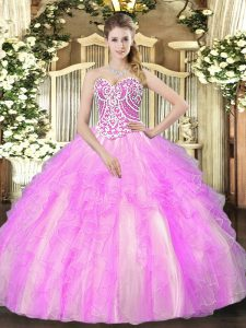 Lilac Lace Up Sweetheart Beading and Ruffles Quince Ball Gowns Tulle Sleeveless