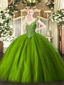 Floor Length Green 15th Birthday Dress Tulle Sleeveless Beading