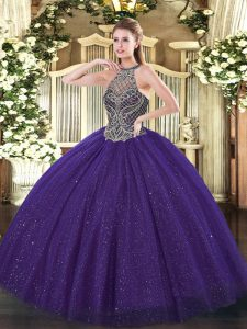 Purple Sleeveless Floor Length Beading Lace Up Quinceanera Dresses