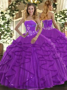 Fitting Strapless Sleeveless Lace Up Quinceanera Gown Purple Tulle