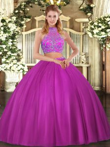 Perfect Tulle Halter Top Sleeveless Criss Cross Beading Sweet 16 Dresses in Fuchsia