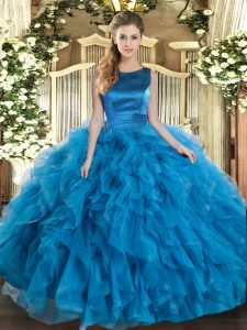 New Style Teal Ball Gowns Tulle Scoop Sleeveless Ruffles Floor Length Lace Up Vestidos de Quinceanera