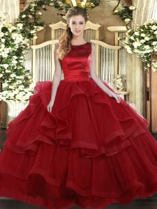 Scoop Sleeveless Ball Gown Prom Dress Floor Length Ruffled Layers Wine Red Tulle
