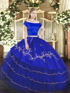 Beauteous Royal Blue Short Sleeves Floor Length Embroidery and Ruffled Layers Zipper Sweet 16 Quinceanera Dress