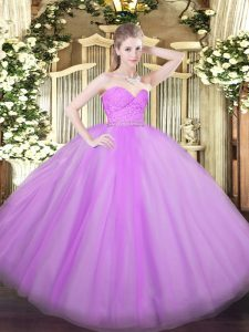 Floor Length Lilac Sweet 16 Quinceanera Dress Sweetheart Sleeveless Zipper