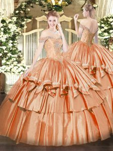 Decent Orange Red Off The Shoulder Neckline Beading and Ruffled Layers Sweet 16 Quinceanera Dress Sleeveless Lace Up