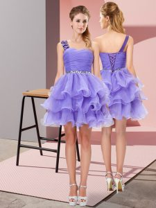 One Shoulder Sleeveless Lace Up Homecoming Dress Lavender Organza