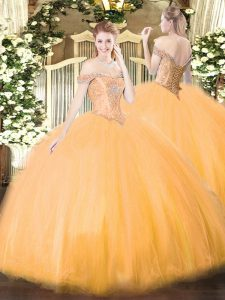 Vintage Beading Quinceanera Gowns Orange Lace Up Sleeveless Floor Length