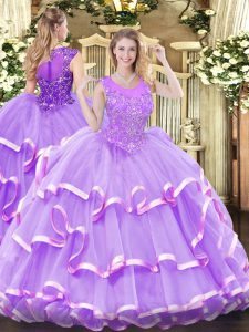 Graceful Ball Gowns 15th Birthday Dress Lavender Scoop Organza Sleeveless Floor Length Zipper