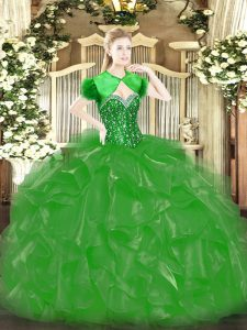 Dramatic Beading and Ruffles Sweet 16 Dress Green Lace Up Sleeveless Floor Length