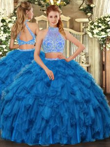 Blue Sleeveless Beading and Ruffles Floor Length Sweet 16 Dress