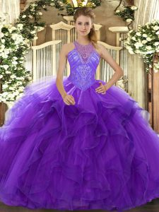 Stylish Sleeveless Floor Length Beading and Ruffles Lace Up Quinceanera Dresses with Purple
