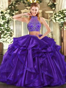 Pretty Purple Organza Criss Cross Quince Ball Gowns Sleeveless Floor Length Beading and Ruffled Layers