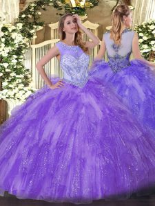 Vintage Lavender Ball Gowns Beading and Ruffles Sweet 16 Quinceanera Dress Zipper Organza Sleeveless Floor Length