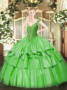 Affordable V-neck Sleeveless Organza and Taffeta Quinceanera Gown Beading and Ruffled Layers Lace Up