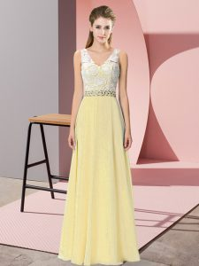 Affordable Floor Length Empire Sleeveless Light Yellow Evening Dress Backless
