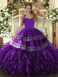 Purple Ball Gowns Embroidery and Ruffles Quinceanera Dresses Lace Up Organza Sleeveless Floor Length