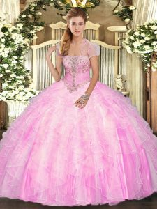 Traditional Rose Pink Strapless Neckline Appliques and Ruffles 15th Birthday Dress Sleeveless Lace Up