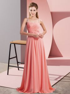 Classical Watermelon Red Sleeveless Chiffon Sweep Train Backless Prom Evening Gown for Prom and Party