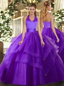 Purple Ball Gowns Halter Top Sleeveless Tulle Floor Length Lace Up Ruffled Layers Quince Ball Gowns