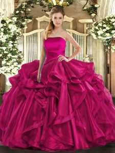 Hot Pink Sleeveless Ruffles Floor Length 15th Birthday Dress