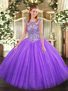 Lavender Sleeveless Beading Floor Length Quinceanera Gowns