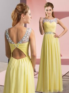 Yellow Empire Beading Prom Gown Clasp Handle Chiffon Sleeveless Floor Length