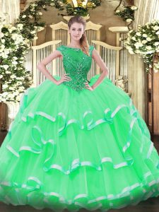 Beautiful Apple Green Sleeveless Organza Lace Up Quince Ball Gowns for Sweet 16 and Quinceanera