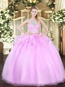 Floor Length Lace Up Quinceanera Dresses Lilac for Military Ball and Sweet 16 and Quinceanera with Lace