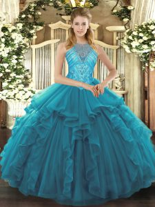 Simple Teal Organza Lace Up High-neck Sleeveless Asymmetrical Quinceanera Dress Beading and Ruffles