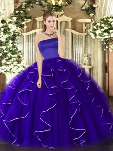 Ruffles Sweet 16 Dress Blue Zipper Sleeveless Floor Length