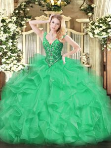 Ball Gowns Ball Gown Prom Dress Green V-neck Organza Sleeveless Floor Length Lace Up