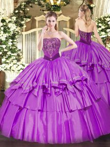 Super Strapless Sleeveless Organza and Taffeta Quince Ball Gowns Beading and Ruffled Layers Lace Up