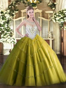 Olive Green Sleeveless Floor Length Beading and Appliques Zipper Quince Ball Gowns