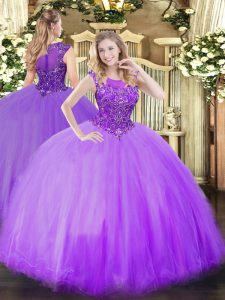 Traditional Lilac Zipper Quinceanera Gowns Beading Sleeveless Floor Length