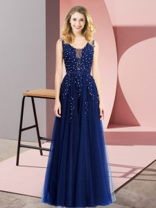 Admirable Sleeveless Tulle Floor Length Backless in Royal Blue with Beading and Appliques