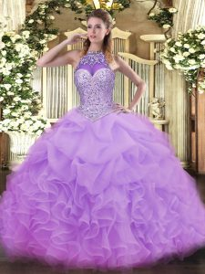 Fitting Lavender Ball Gowns Organza Halter Top Sleeveless Beading and Ruffles and Pick Ups Floor Length Lace Up Sweet 16 Dress