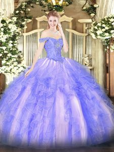 Super Lavender Sleeveless Floor Length Beading and Ruffles Lace Up Quinceanera Dresses
