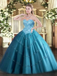 Popular Floor Length Teal Sweet 16 Dresses Sweetheart Sleeveless Lace Up