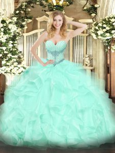 Glittering Apple Green Organza Lace Up Ball Gown Prom Dress Sleeveless Floor Length Beading and Ruffles
