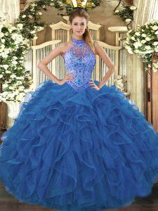 Blue Ball Gowns Halter Top Sleeveless Organza Floor Length Lace Up Beading and Embroidery and Ruffles Quinceanera Dresses