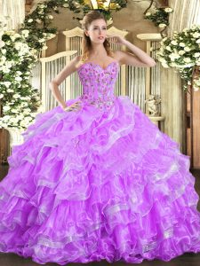 Extravagant Sleeveless Organza Floor Length Lace Up Ball Gown Prom Dress in Lilac with Embroidery and Ruffled Layers