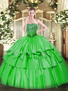 Sweet Green Organza and Taffeta Lace Up Quinceanera Dress Sleeveless Floor Length Beading and Ruffled Layers