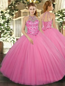 Sleeveless Floor Length Beading Lace Up 15th Birthday Dress with Rose Pink