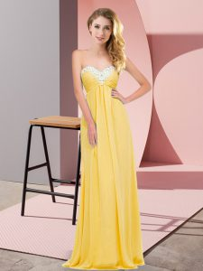 Fashionable Gold Sleeveless Floor Length Ruching Lace Up