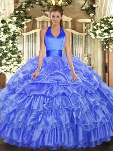 Ball Gowns Quinceanera Dress Blue Halter Top Organza Sleeveless Floor Length Lace Up